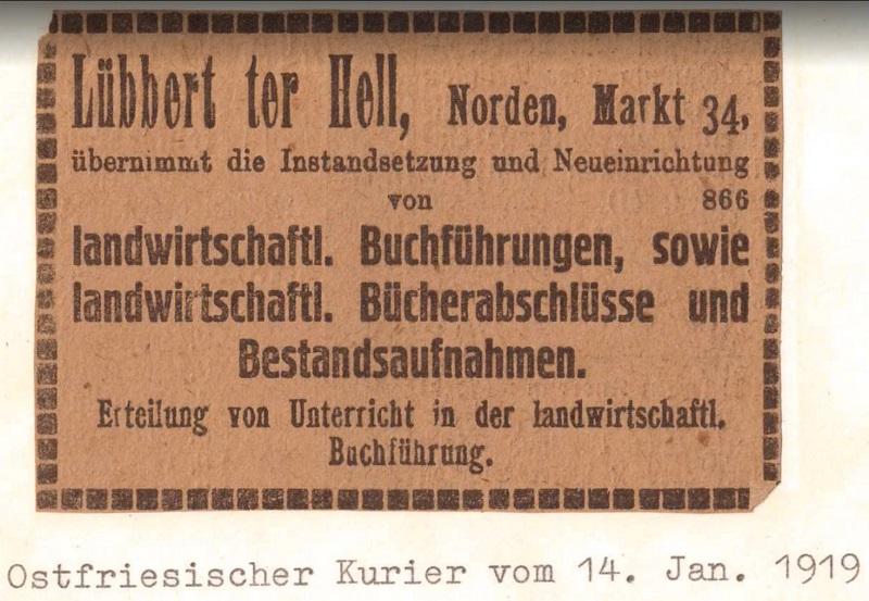 Erste Anzeige der Steuerkanzlei